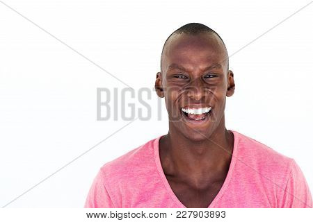 Happy African American Man Laughing Against Isolated White Background