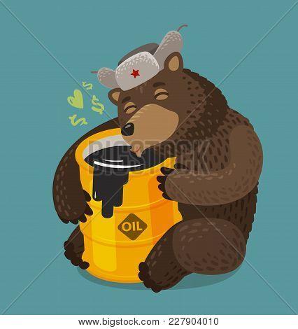 Russian Bear Hugging Barrel Of Oil. Russia, Moscow Concept. Cartoon Vector