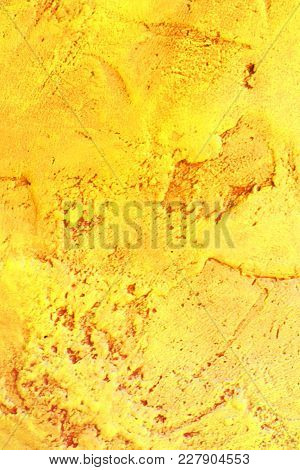 Bright Colored Yellow Grunge Concrete Wall Texture Background.