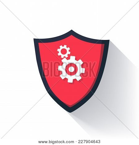 Shield Flat Icon With Long Shadow. Achievement Badge In Flat Style With Defence Emblem And Gears Sym