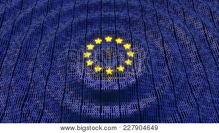 European Union Data Protection bits and bytes in ripple waving pattern with glowing EU stars. 3D illustration poster