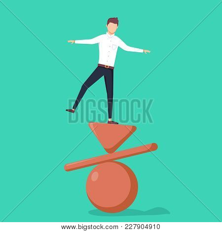 Business Concept Of Balance, Vector Illustration. Businessman Standing On Top Of Inverted Pyramid, P