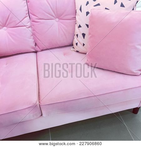 Fancy Pink Velvet Sofa With Soft Cushions. Expensive Furniture.