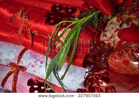 The Detail Of Traditional Hope Chest  Of Yao Ethnic Minority Bride.