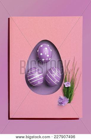 Easter Egg .purple Monochrome.purple Flower Violet And Green Grass.flat Lay. Design, Visual Art, Min