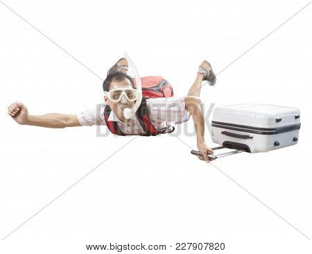 Crazy Man Wearing Snorkeling Mask Flying Mid Air With Traveling Luggage Isolated White Background