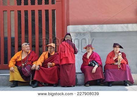 Beijing, China - Circa September 2016: Monks Having A Rest In The Yonghe Temple, Palace Of Peace And