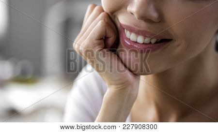 Happy Asian Woman Face With Chin On Hand, Collagen Injections, Dermatology, Stock Footage