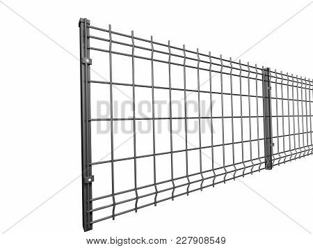 Grey Wire Industrial Fence Panels, Pvc Metal Fence Panel 3d Illustration On Isolated White Backgroun