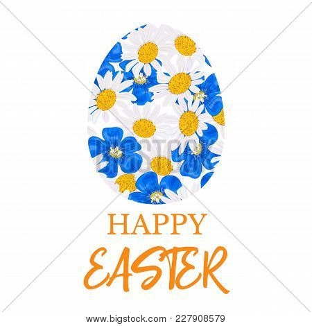 Happy Easter. Decorated Blue Flat Egg Made Of Daisy And Blue Flowers, Forget-me-not, Flax, Chamomile