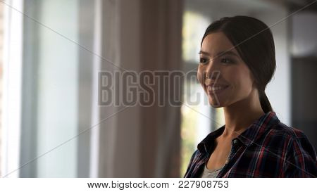Female Housekeeper Looking Satisfied At Room Window After Cleaning, Hygiene, Stock Footage