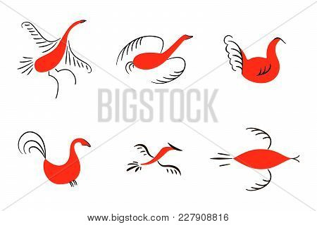 Set of six red birds. National northen paintings. Folk handicrafts. Enchanting original Simplicity. flat duck, goose, hen, fowl, cock, swan, lark, starling. For prints poster wallpaper, decoration poster