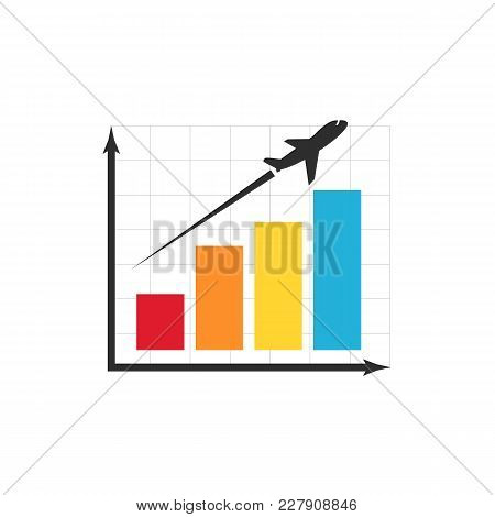 Flight Miles Bonuses Vector Icon. Airplane Fly Up Over Diagram Isolated Illustration