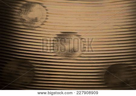 Brass Drum Cymbal Surface Macro Close Up