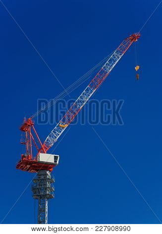 Construction Fixed Crane With Cabin At Work