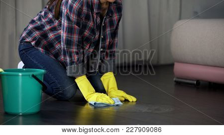 Lady Trying To Get Rid Of Stains On Floor With Special Remover, Polishing Liquid, Stock Footage