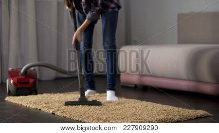 Female Hoovering Room Carpet During General Cleaning, House Working, Tidiness, Stock Footage