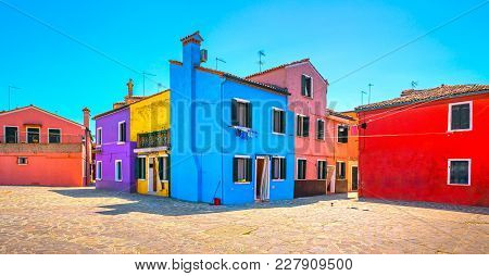 Venice Landmark, Burano Island Square And Colorful Houses, Italy, Europe.