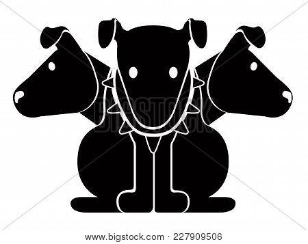 Isolated Cute Cerberus Icon. Vector Illustration Design