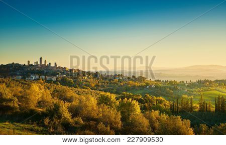 San Gimignano Medieval Town Towers Skyline And Countryside Landscape Panorama At Sunrise. Tuscany, I