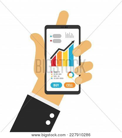 Hand Holding Smartphone Isolated Vector Illustration. Phone Up For Monitoring Stocks Market Template