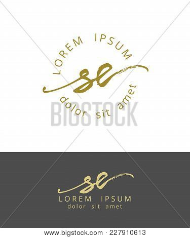 S E. Handdrawn Brush Monogram Calligraphy Logo Design Work