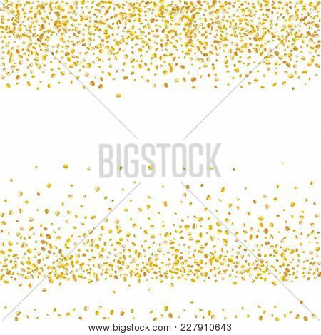 Golden Glitter Confetti On A White Background. Illustration Of A Drop Of Shiny Particles. Decorative