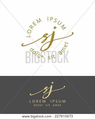 S J. Handdrawn Brush Monogram Calligraphy Logo Design Work