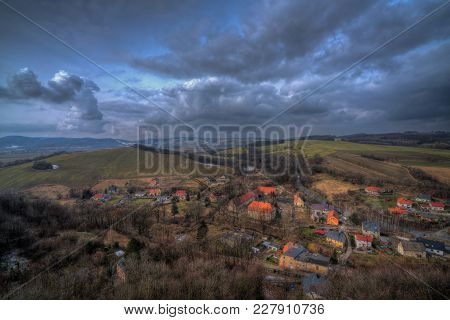 View Of The Suburbs Of Small Bolkow Town In Lower Silesia, Poland, As Seen From The Walls Of The Bol