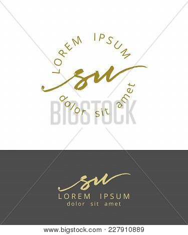 S U. Handdrawn Brush Monogram Calligraphy Logo Design Work
