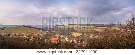 Panorama Of The Small Bolkow Town In Lower Silesia, Poland, As Seen From The Walls Of The Bolkow Cas