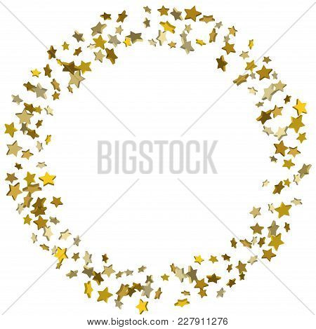 Vector White Template With Gold Stars.  Illustration Of Flying Shiny Stars. Decorative Element. Brig