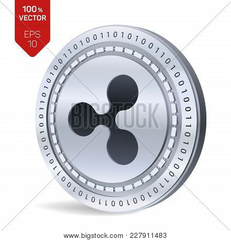 Ripple. 3d Isometric Physical Coin. Digital Currency. Cryptocurrency. Silver Coin With Ripple Symbol