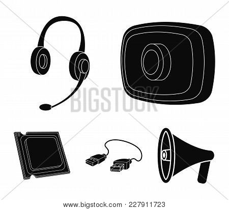 Webcam, Headphones, Usb Cable, Processor. Personal Computer Set Collection Icons In Black Style Vect