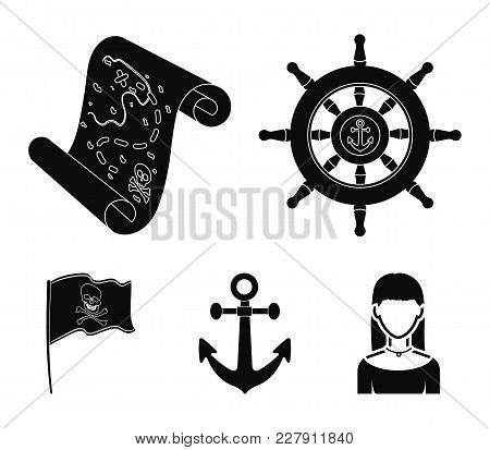 Pirate, Bandit, Rudder, Flag .pirates Set Collection Icons In Black Style Vector Symbol Stock Illust