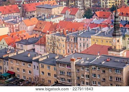 Colorful tenement houses in the small Bolkow town in Lower Silesia, Poland, as seen from the walls of the Bolkow castle poster