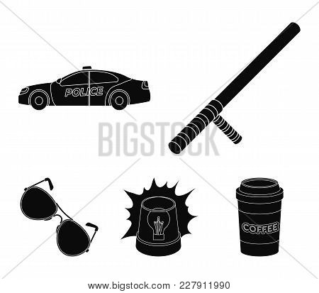 Police Baton, Auto, Flasher, Glasses.police Set Collection Icons In Black Style Vector Symbol Stock