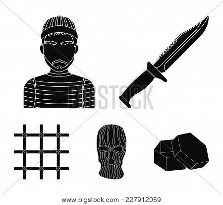 Knife, Prisoner, Mask On Face, Steel Grille. Prison Set Collection Icons In Black Style Vector Symbo