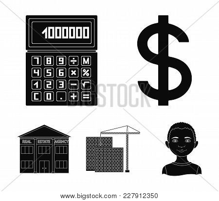 Calculator, Dollar Sign, New Building, Real Estate Offices. Realtor Set Collection Icons In Black St