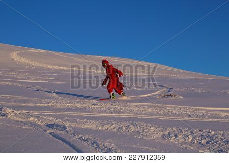 Snowboarder In Funny Shrimp Costume