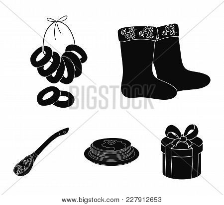 Felt, Boots, Drying, Gingerbread .russia Country Set Collection Icons In Black Style Vector Symbol S