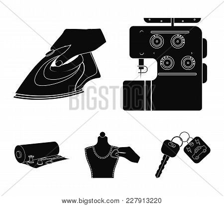 Electric Sewing Machine, Iron For Ironing, Marking With Chalk Clothes, Roll Of Fabric And Other Equi