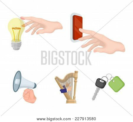 Electric Switch Button, Incandescent Lamp And Other  Icon In Cartoon Style. Harp Playing, Megaphone