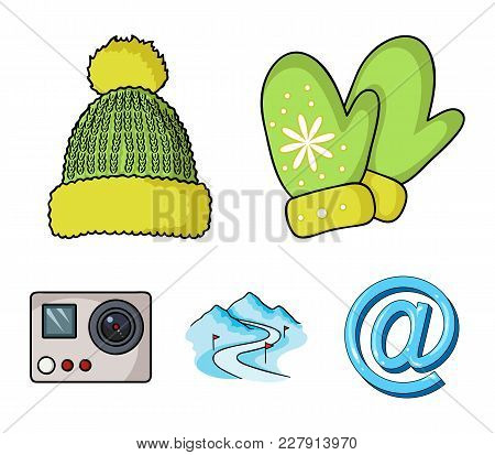 Mittens, Warm Hat, Ski Piste, Motion Camera. Ski Resort Set Collection Icons In Cartoon Style Vector
