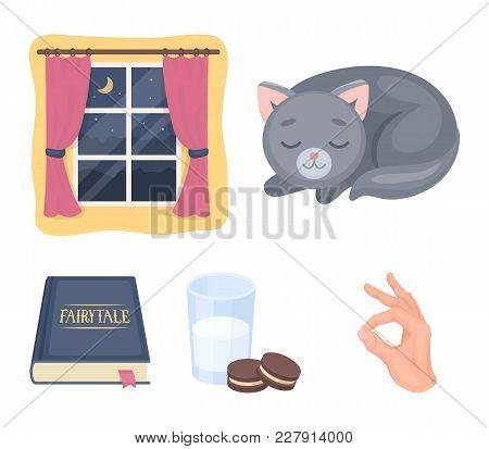 Sleeping Cat, Night Outside The Window, Milk And Biscuits, Fairy Tales. Rest And Sleep Set Collectio