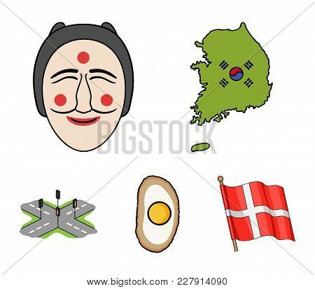 A Map Of The State With A Flag, A Korean Mask, A National Egg Meal, A Crossroads With Traffic Lights