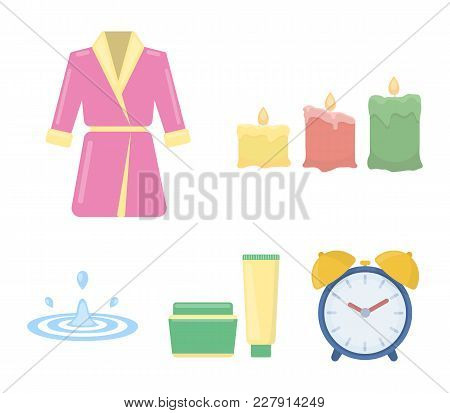 Multicolored Burning Candles, A Pink Robe With A Yellow Belt And A Collar, A Tube With Cream And A J
