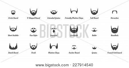Vector Cartoon Style Set Of Man Different  Fashion Beards And Mustaches Silhouettes. Facial Hair Typ
