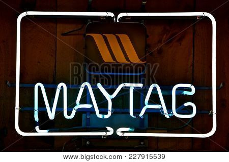 Rollag, Minnesota, September 2, 2017: The Iconic Logo Iis A Product Of The Maytag Washing Machine Co