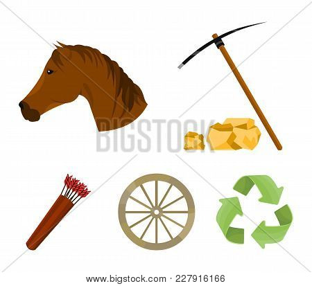 Pickax Hoe, Horse Head, Wheel Cart, Quiver With Arrows.wild West Set Collection Icons In Cartoon Sty